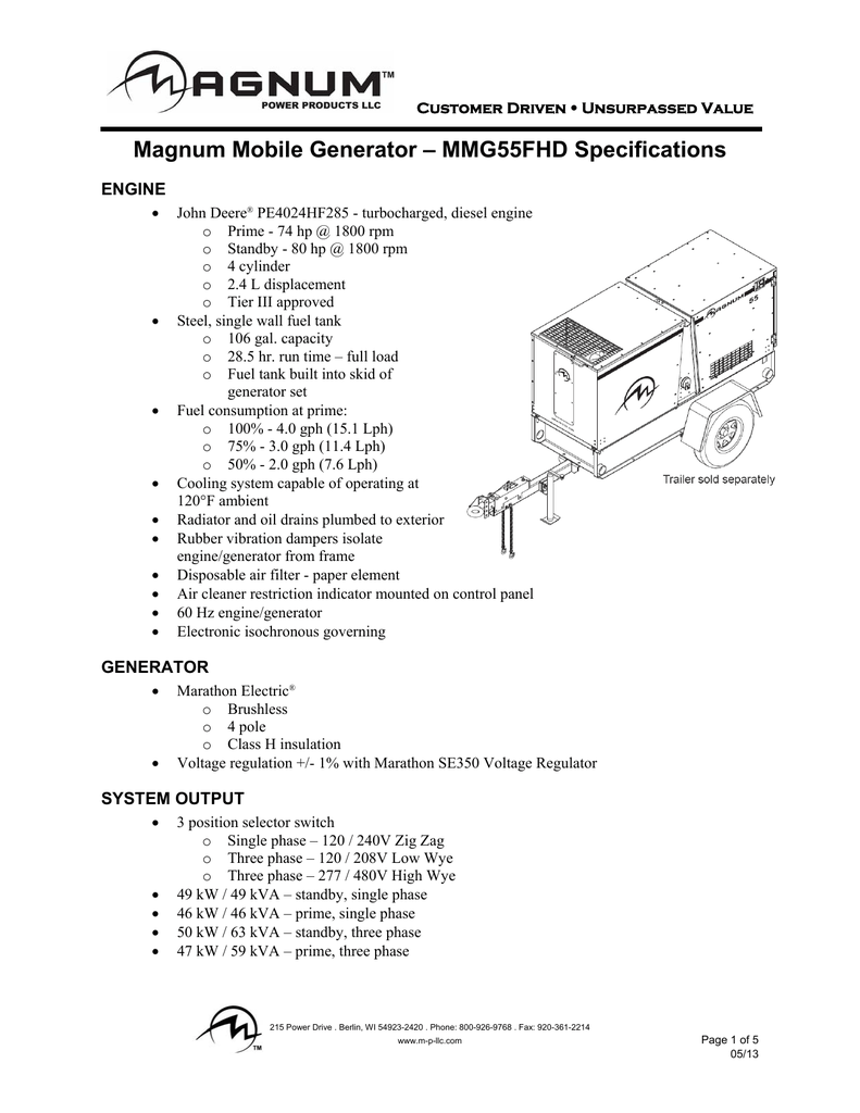 hight resolution of magnum mobile generator mmg55fhd specifications