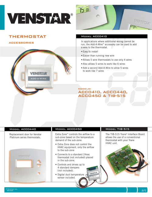 small resolution of thermostat accessories model acc0410 in applications where additional wiring cannot be run the add a wire accessory can be used to add a wire to the