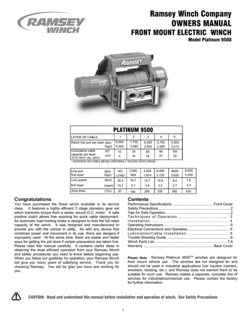 small resolution of ramsey winch company owners manual
