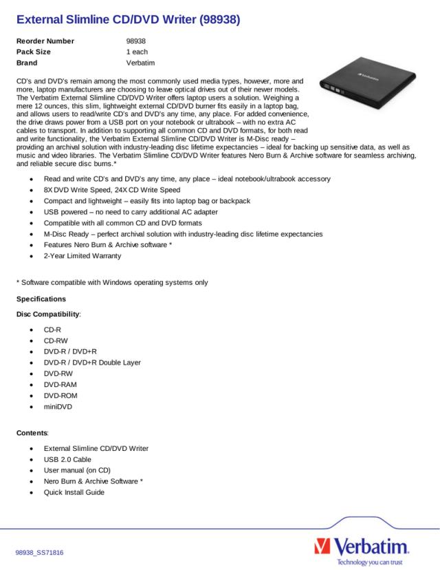 External Slimline CD/DVD Writer (20)  Manualzz