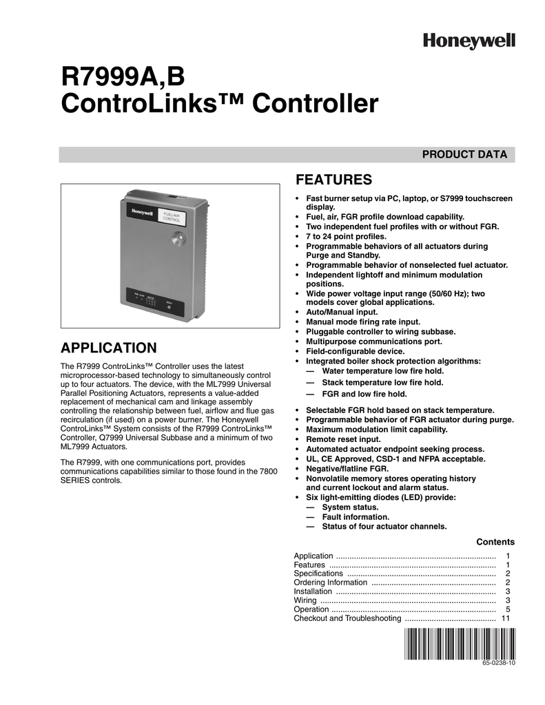 hight resolution of 65 0238 10 r7999a b controlinks controller