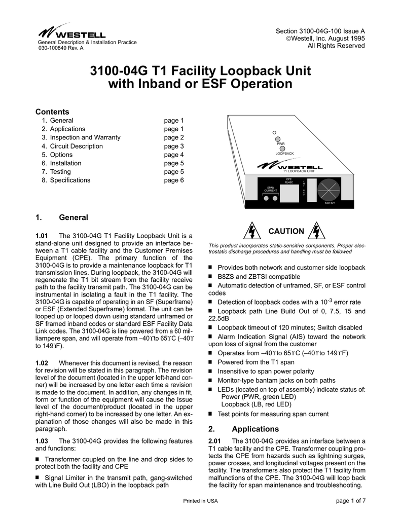 medium resolution of 3100 04g t1 facility loopback unit with inband or esf