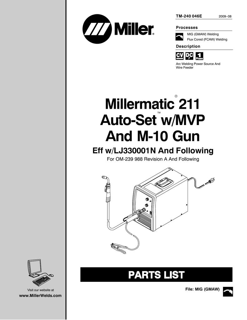hight resolution of millermatic 211 auto set w mvp and m 10 gun manualzz commillermatic 211 wiring schematic