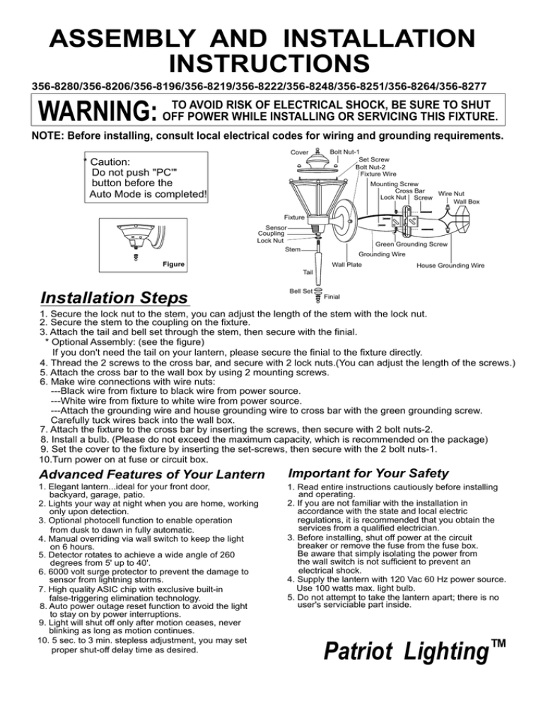 assembly and installation instructions