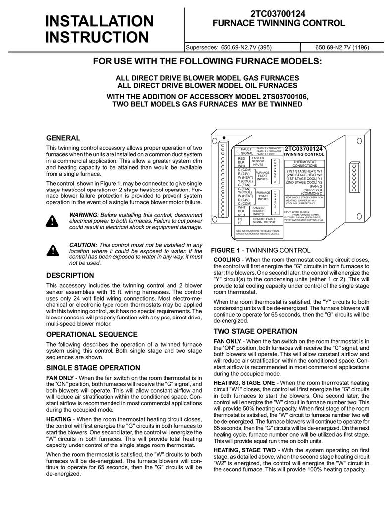 medium resolution of furnace twinning control installation manualzz com twinning furnaces wiring diagram for gas