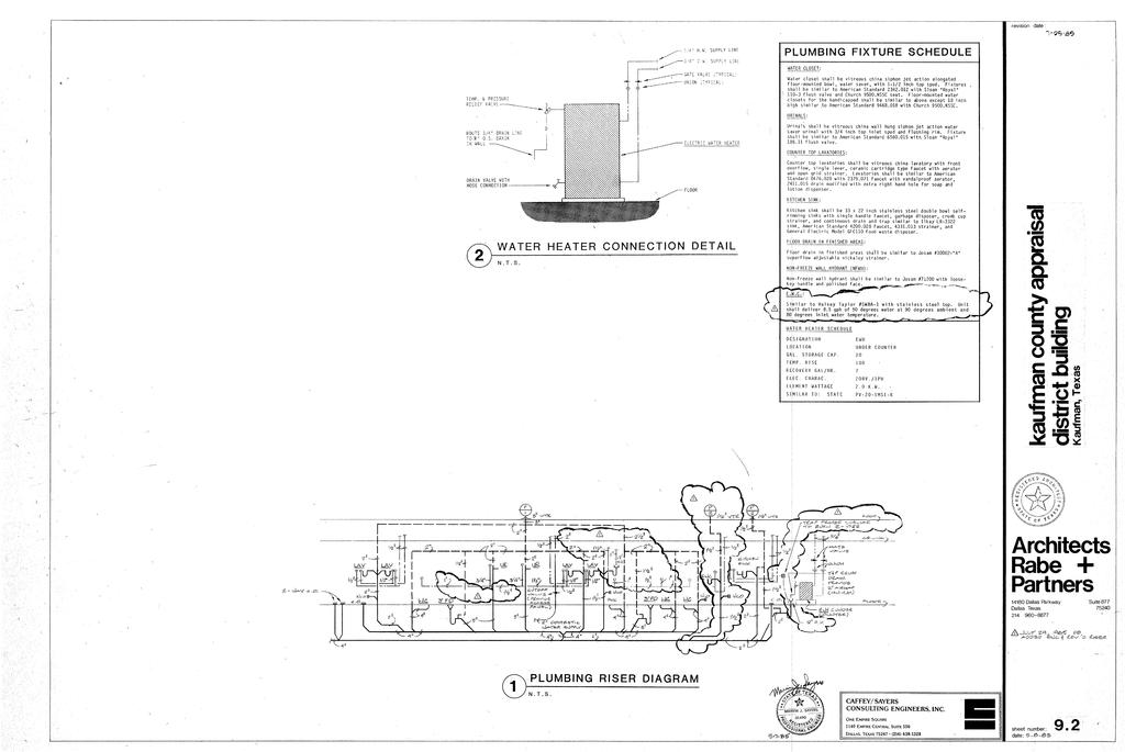 plumbing riser diagram, water heater connection detail