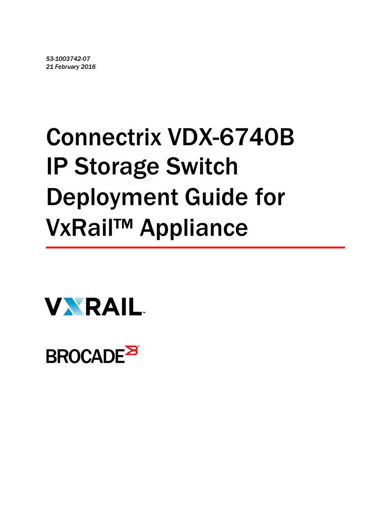 Brocade VDX 6740 Deployment Guide for VMware® EVO:RAIL