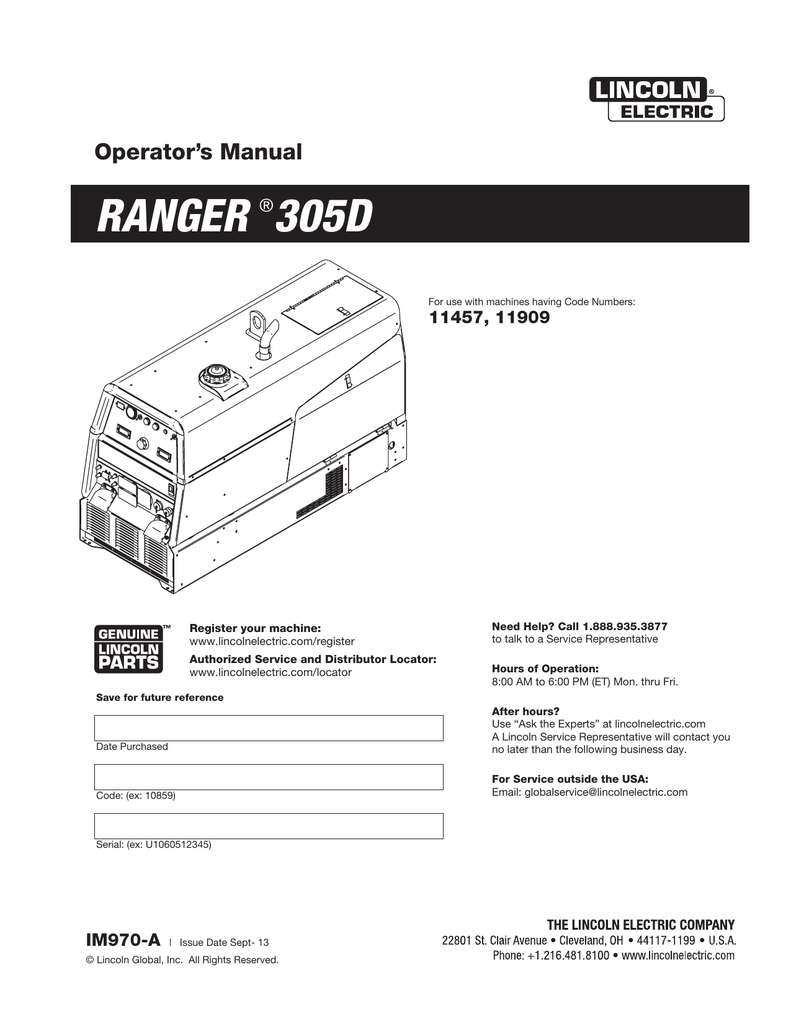 hight resolution of ranger 305d lincoln electric manualzz comranger 305d lincoln electric