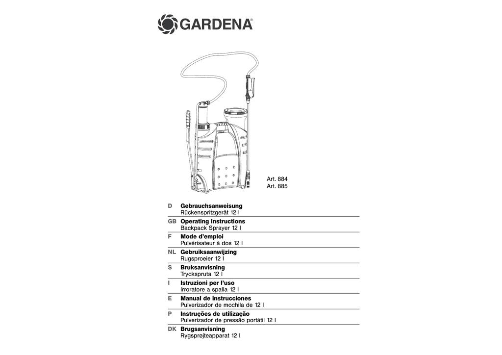 OM, Gardena, Backpack Sprayer 12 l, Art 00884-20, Art