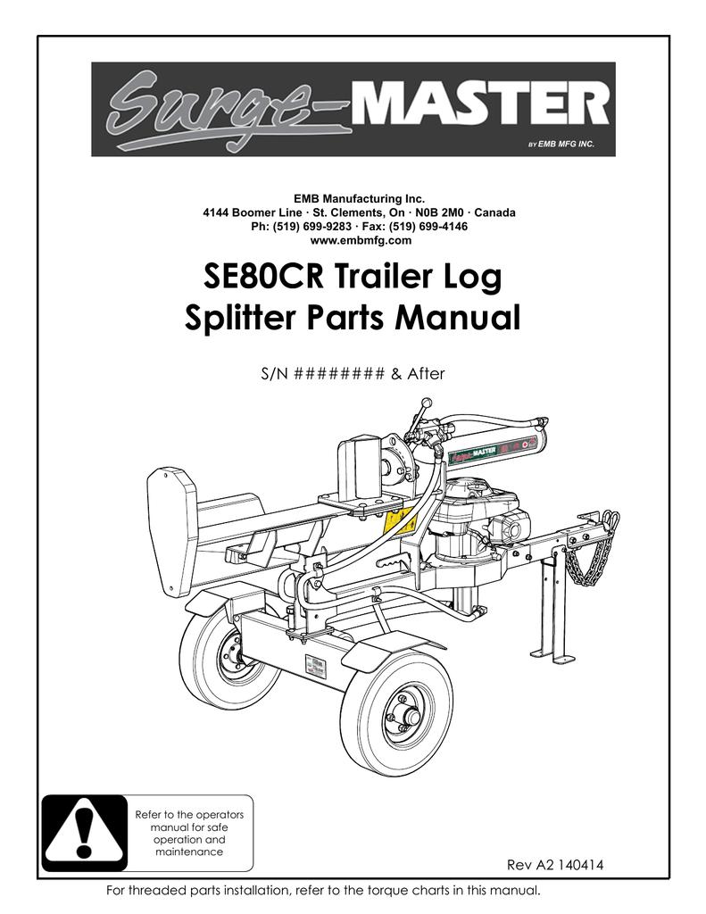 Se80cr Trailer Log Splitter Parts Manual Manualzz