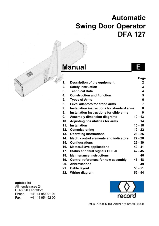 medium resolution of automatic swing door operator dfa 127 manual e