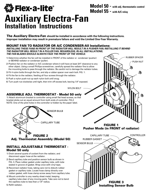 small resolution of flex a lite 50 electric cooling fan installation instructions manualzz com