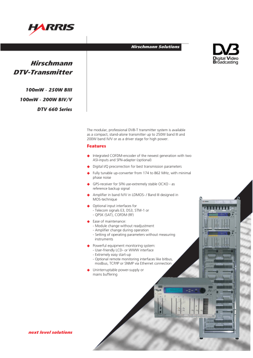 small resolution of hirschmann solutions hirschmann dtv transmitter the modular professional dvb t transmitter system is available as a compact stand alone transmitter up to