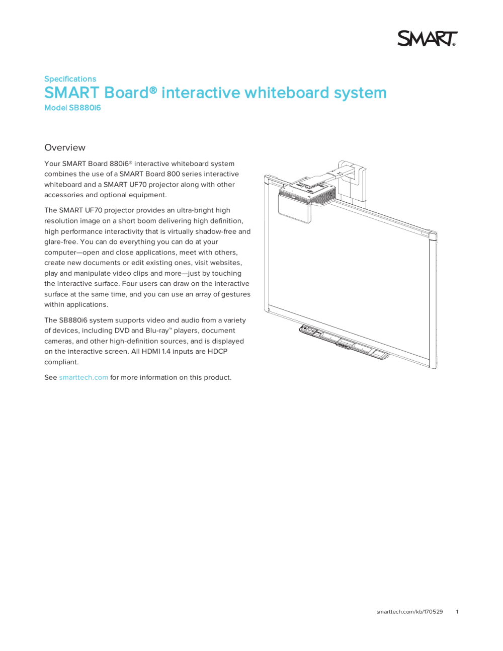 medium resolution of specifications smart board 880i6 interactive whiteboard system