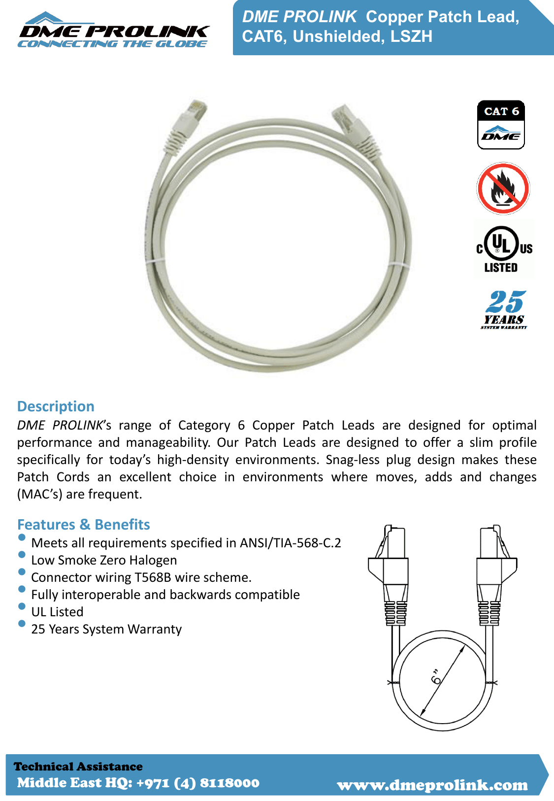 hight resolution of dme prolink copper patch lead cat6 unshielded lszh