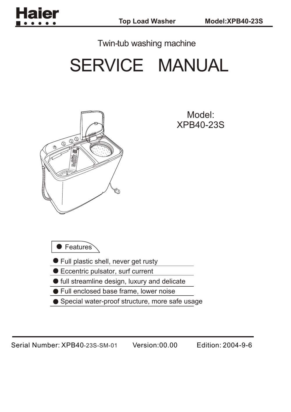 medium resolution of top load washer model xpb40 23s twin tub washing machine service manual model contents xpb40 23s 1