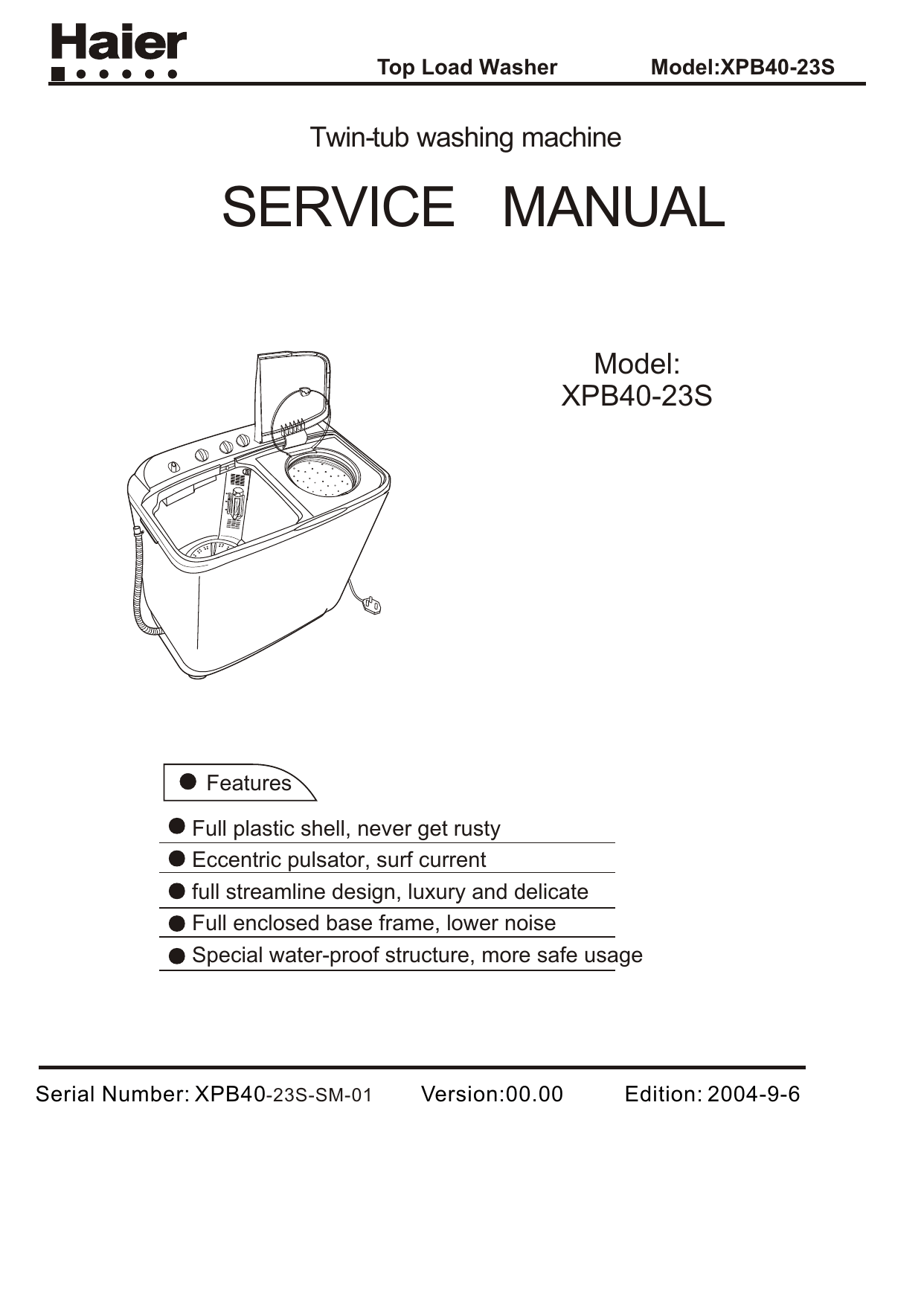 hight resolution of top load washer model xpb40 23s twin tub washing machine service manual model contents xpb40 23s 1