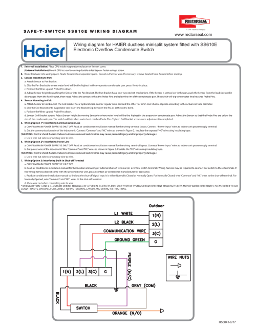 small resolution of wiring diagram for haier ductless minisplit system