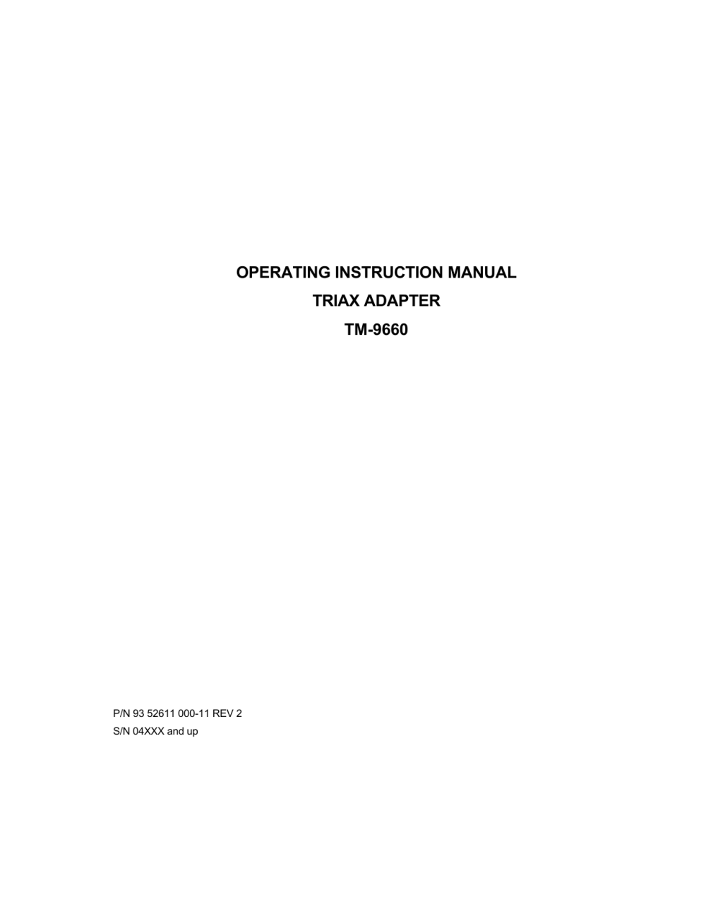 medium resolution of operating instruction manual triax adapter tm 9660
