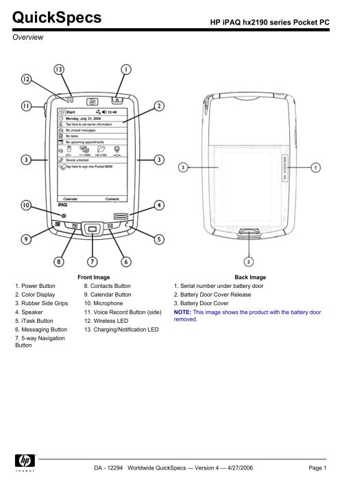small resolution of  manual array hp ipaq hx2190 series pocket pc manualzz com rh manualzz