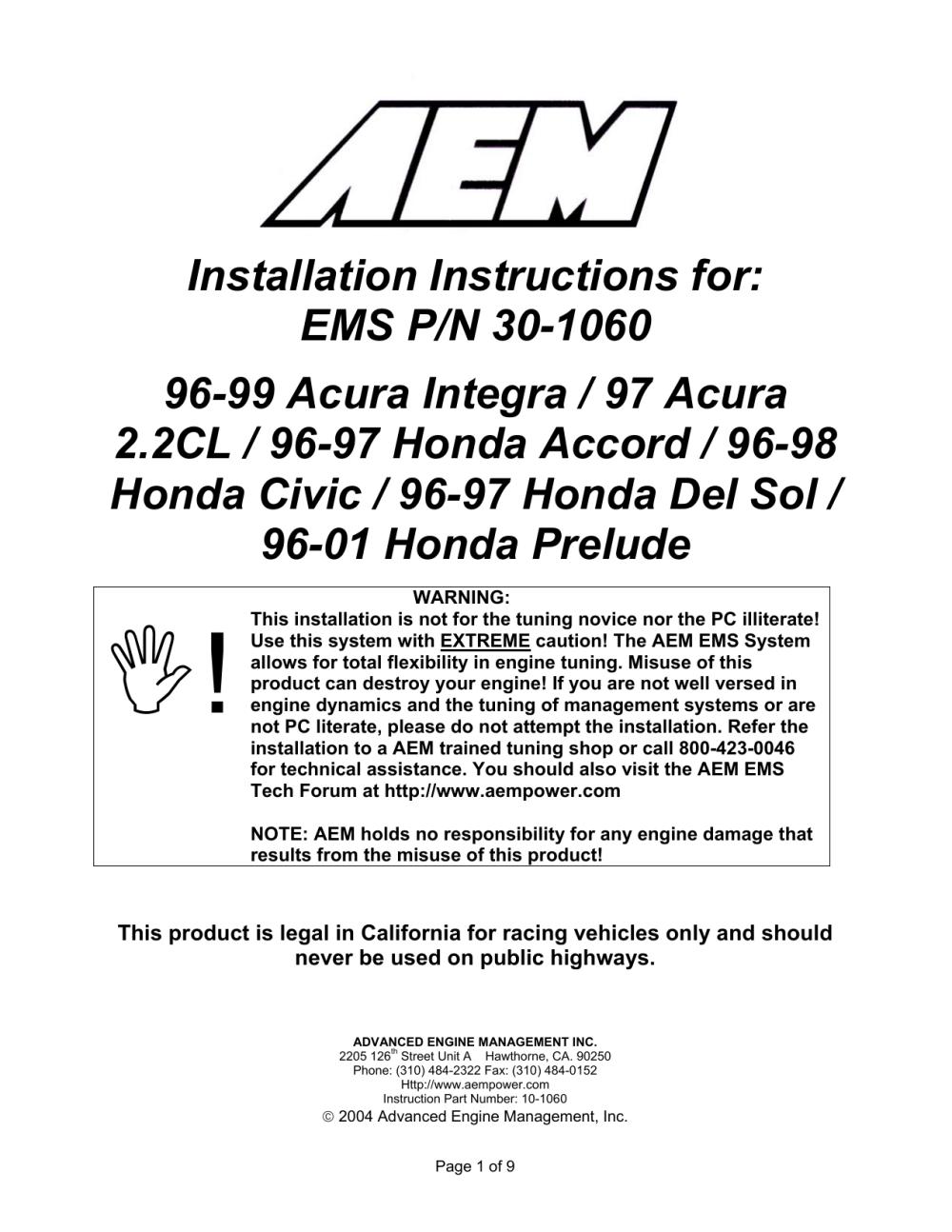medium resolution of aem 30 1060 ignition kit installation instructions