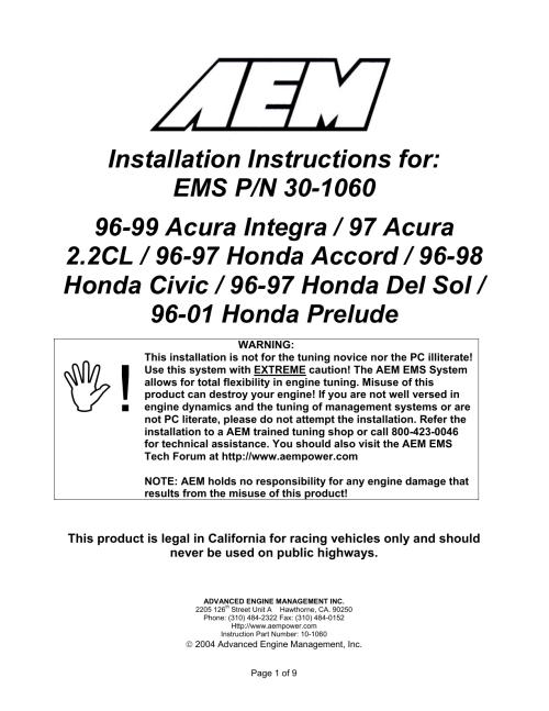 small resolution of aem 30 1060 ignition kit installation instructions