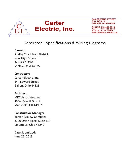 small resolution of generator specs and wiring