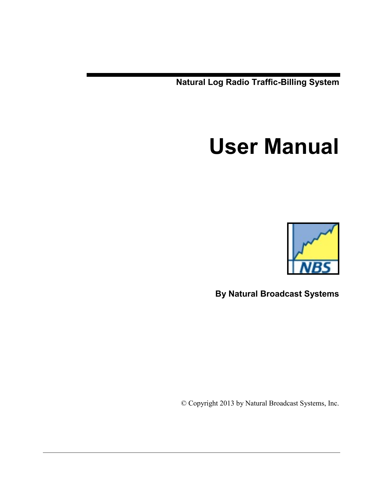 Natural Log Radio Traffic-Billing System User Manual