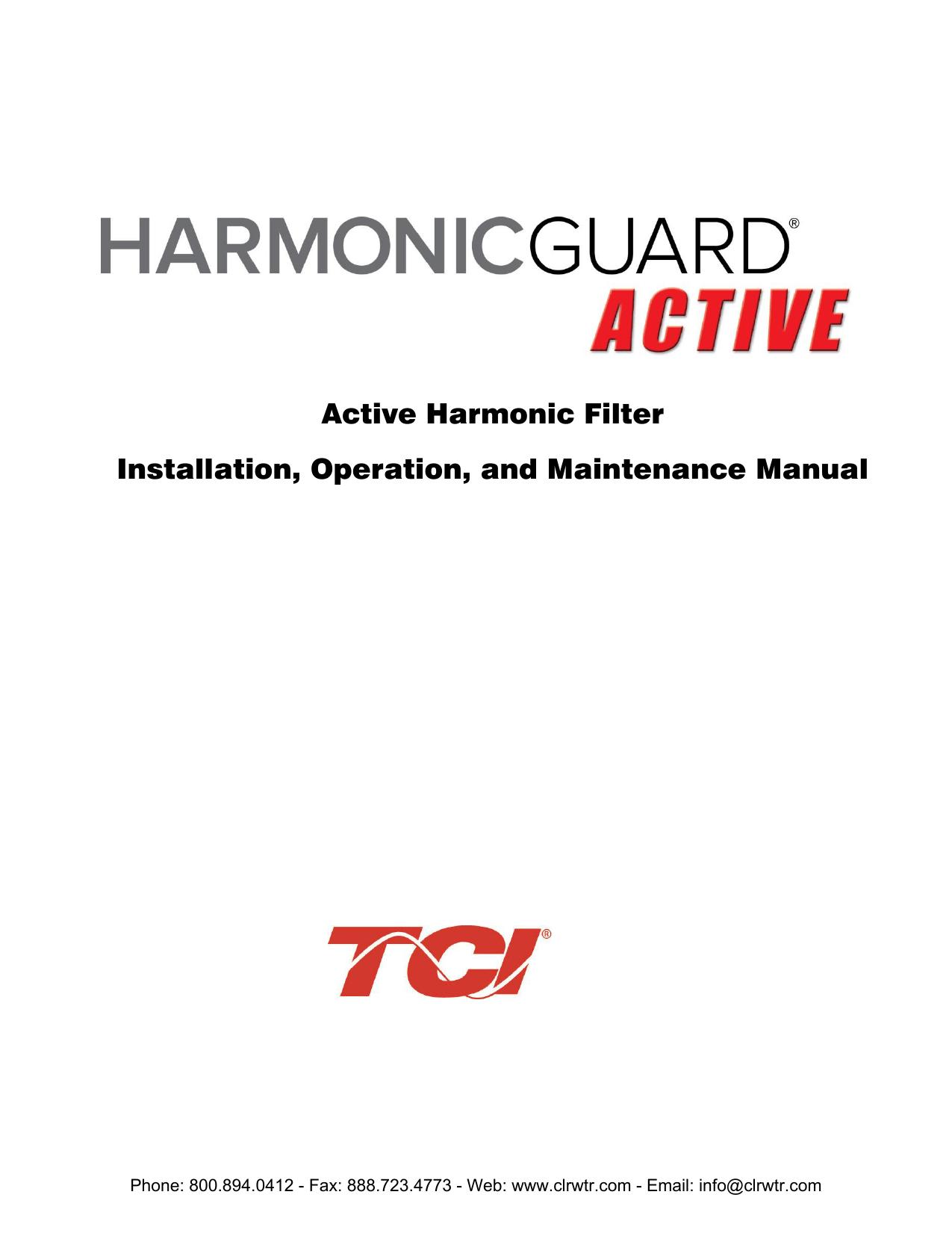 TCI HarmonicGuard Active Filter Installation, Operation