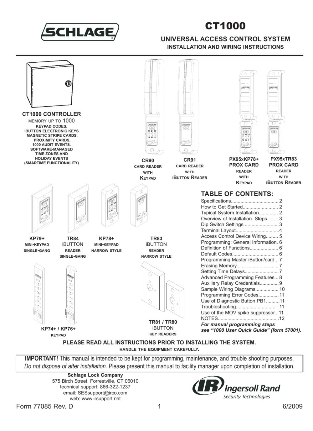 medium resolution of ct1000 allegion manualzz com locknetics ct 1000 wiring diagram