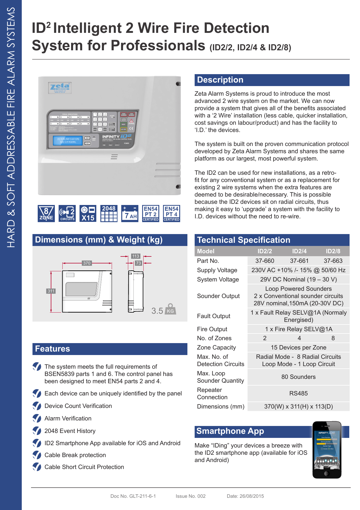 hight resolution of id2 intelligent 2 wire fire detection