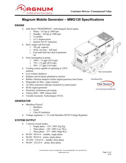 small resolution of magnum mmg130 specifications