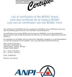 list of certificates of the bosec brand liste des certificats de [ 1241 x 1754 Pixel ]
