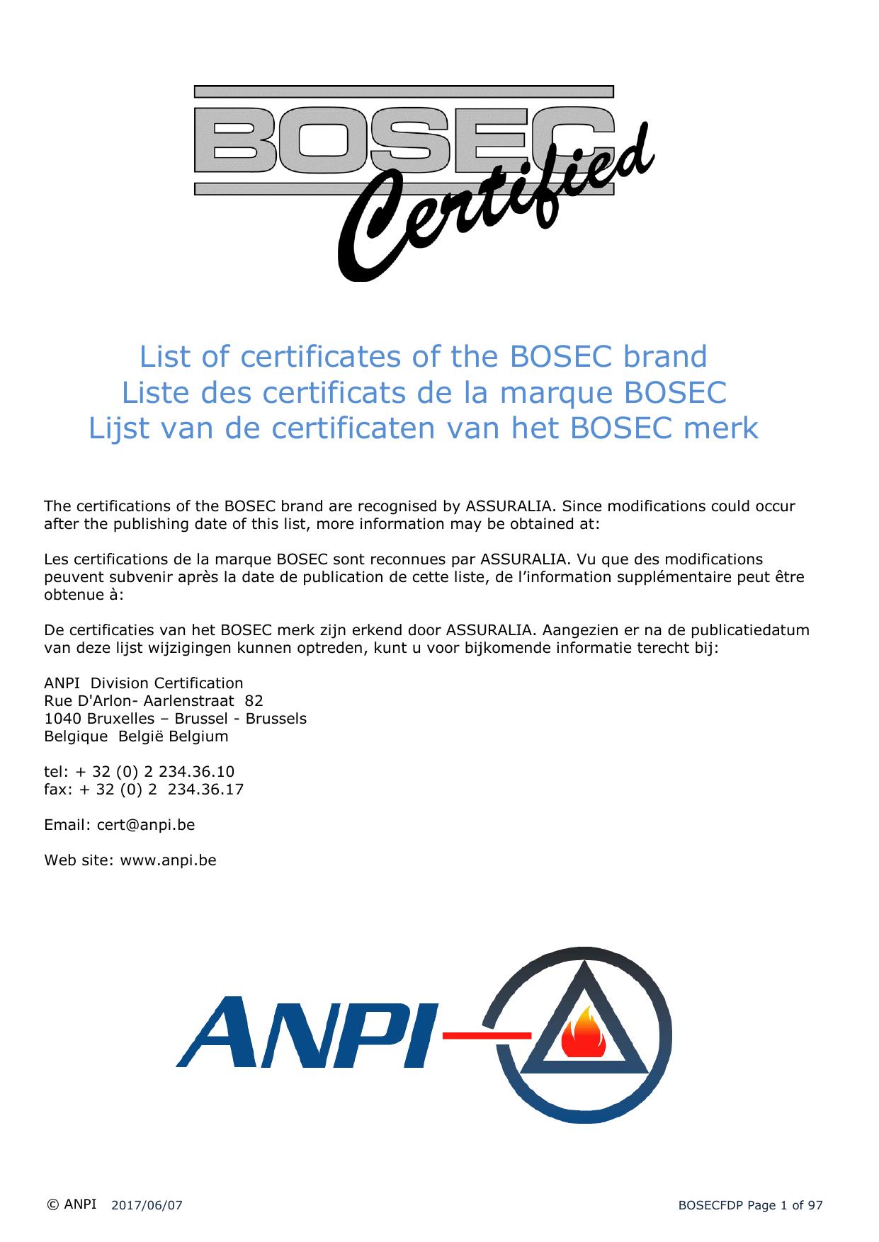 hight resolution of list of certificates of the bosec brand liste des certificats de