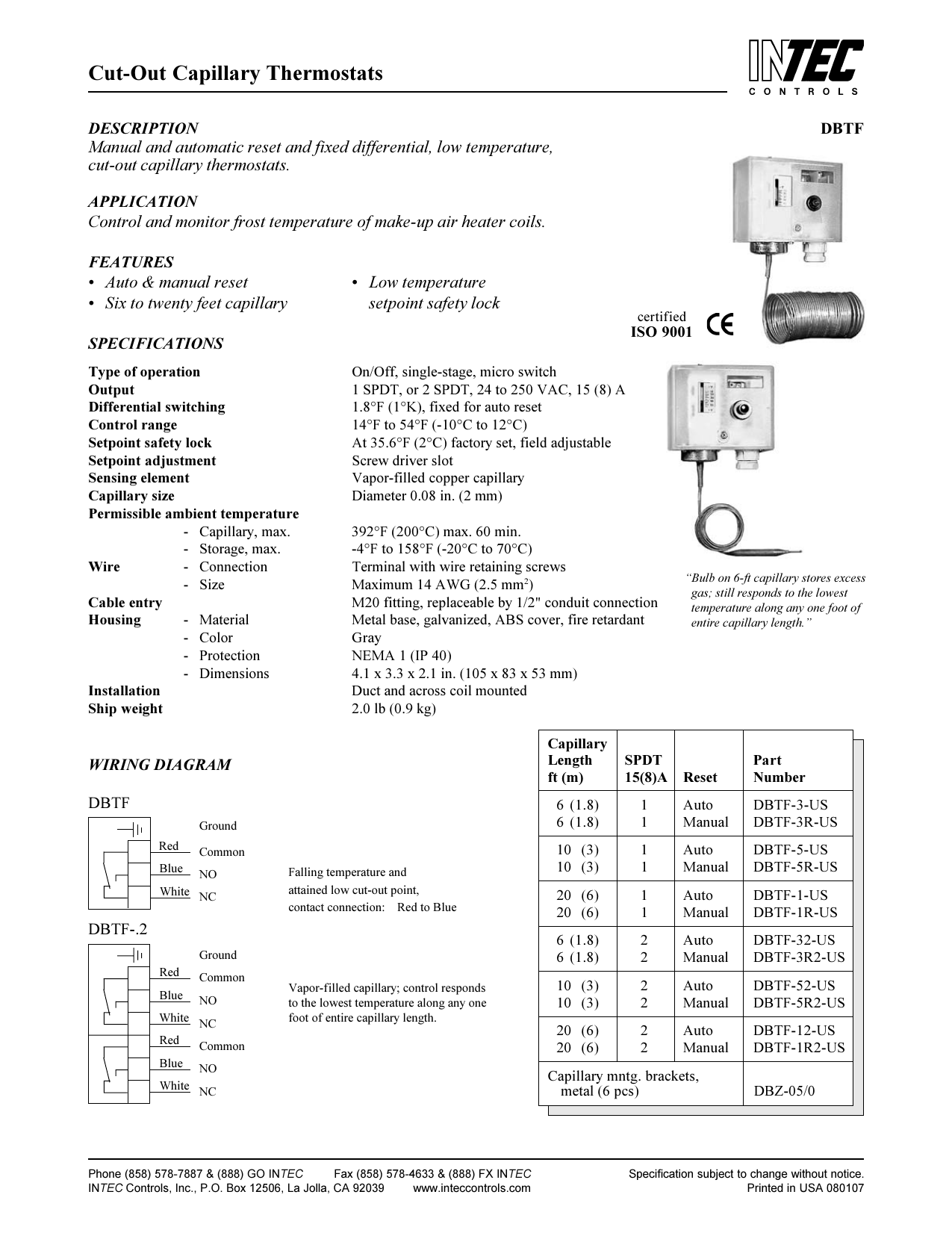 hight resolution of cut out capillary thermostats
