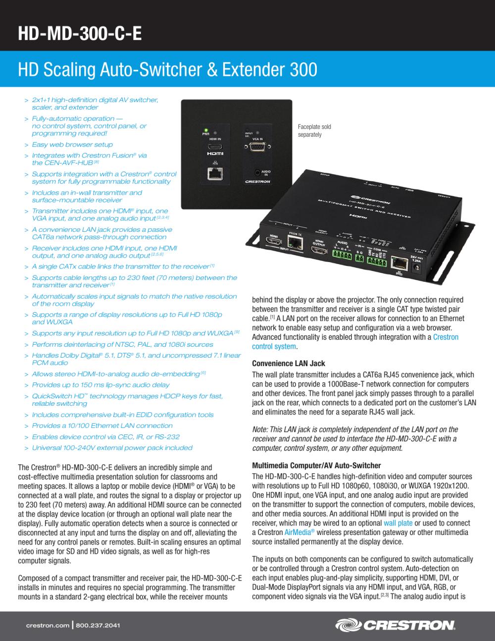 medium resolution of product specifications hd md4x1 4k e av iq