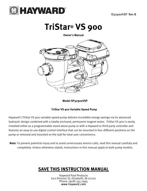 small resolution of tristar vs 900 hayward pool products manualzz com on pentair superflo pump hayward pump wiring diagram