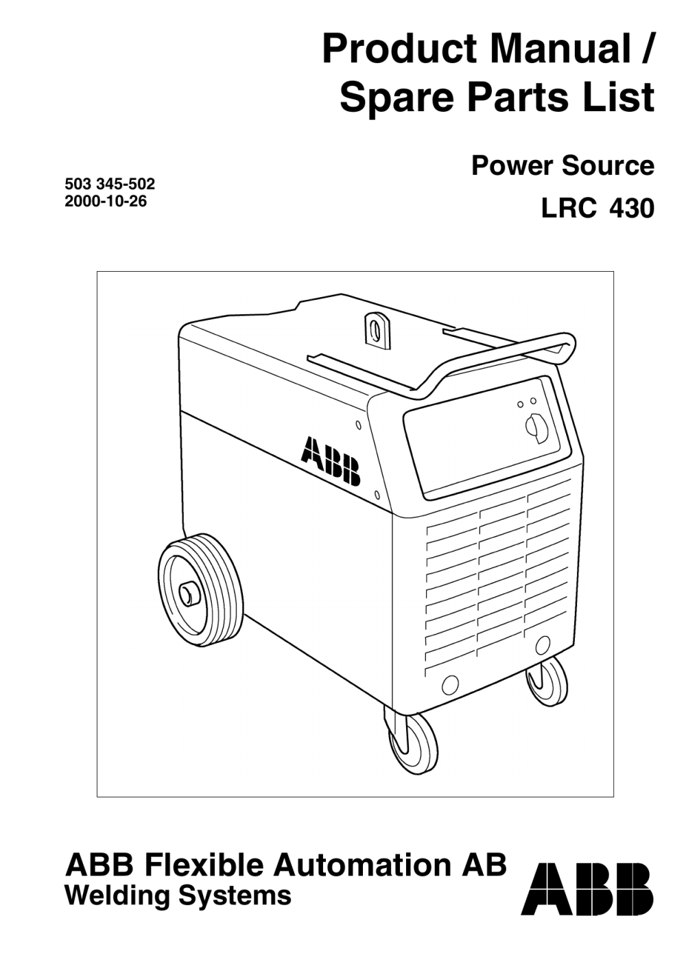 medium resolution of product manual spare parts list power source lrc 430