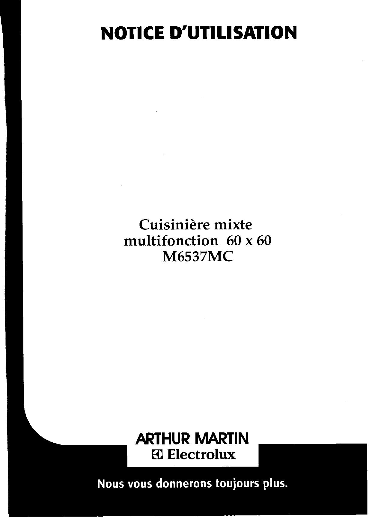 ARTHUR MARTIN ELECTROLUX M6537MCW13+1M-CA User manual