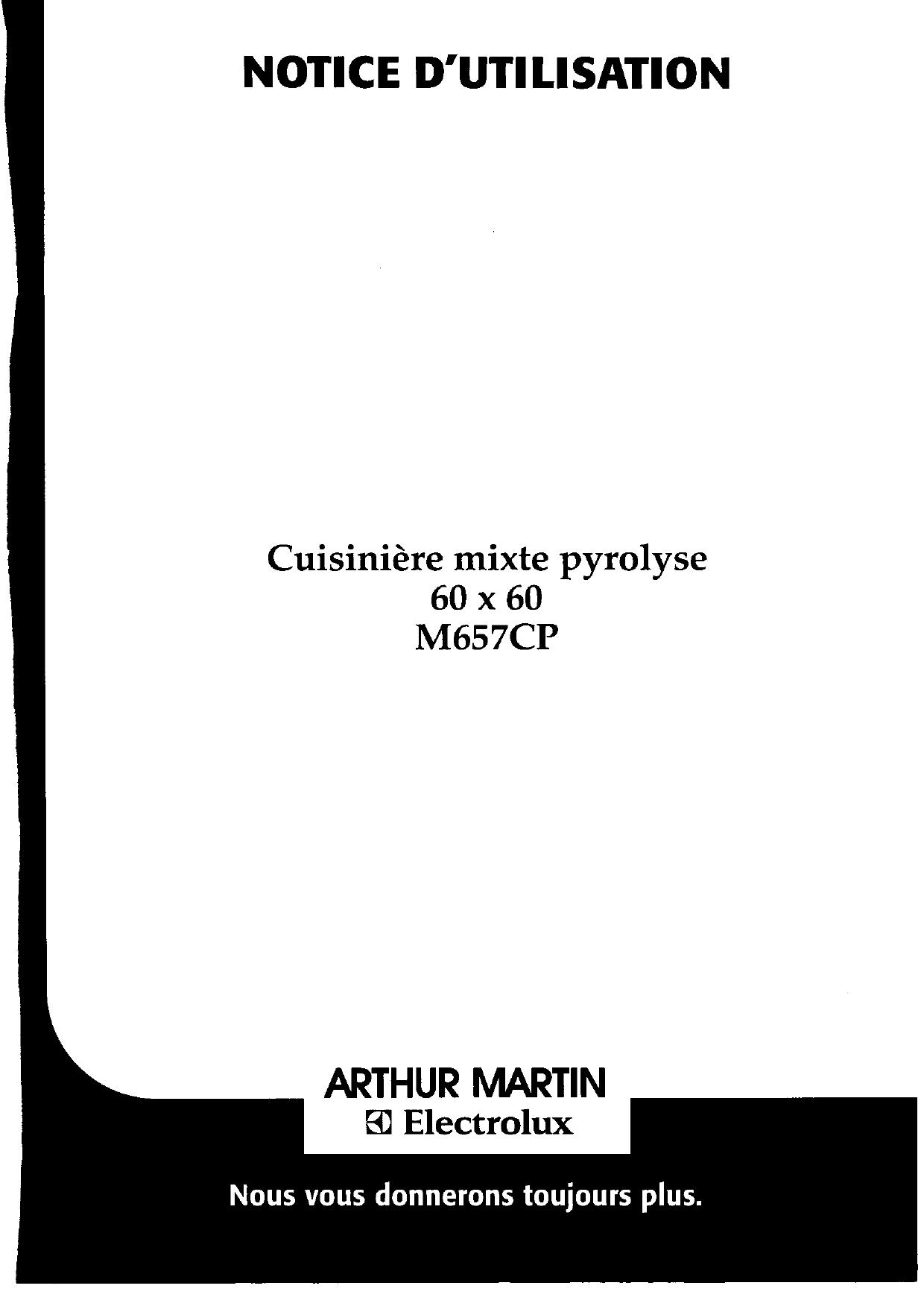 ARTHUR MARTIN ELECTROLUX M657CPW13+1PYRO Manuel