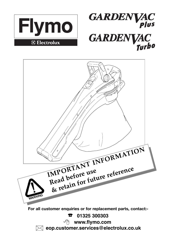 Flymo GardenVac 2200 Turbo, GARDENVAC 1600 PLUS, GARDENVAC