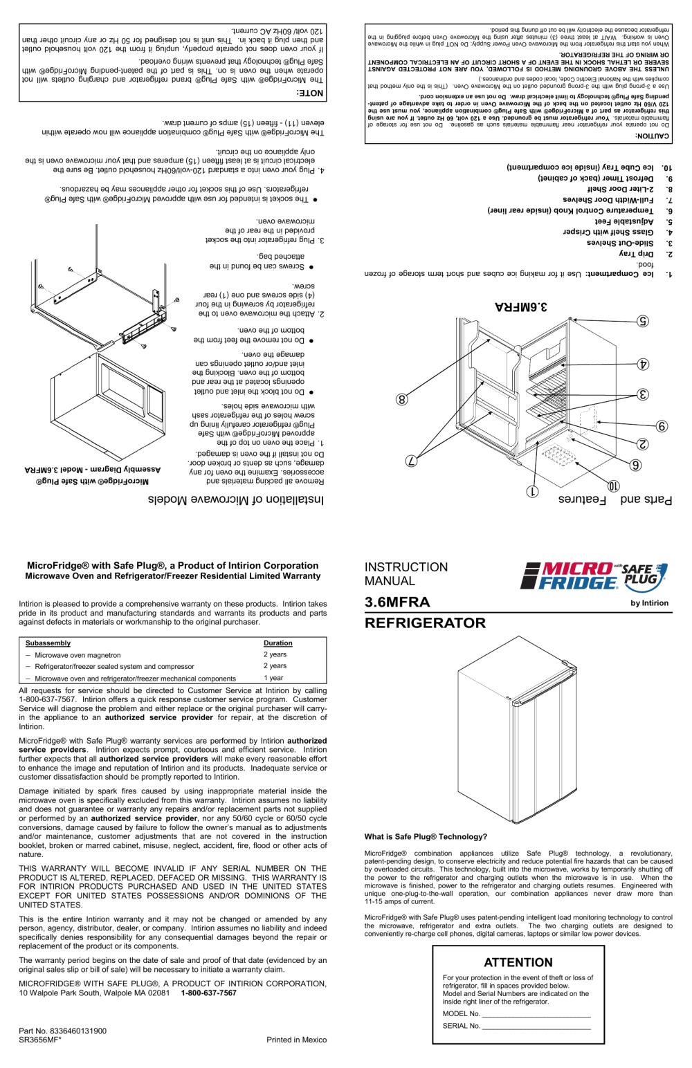 medium resolution of microfridge 3 6mf4a 7d1w instruction manual refrigerator