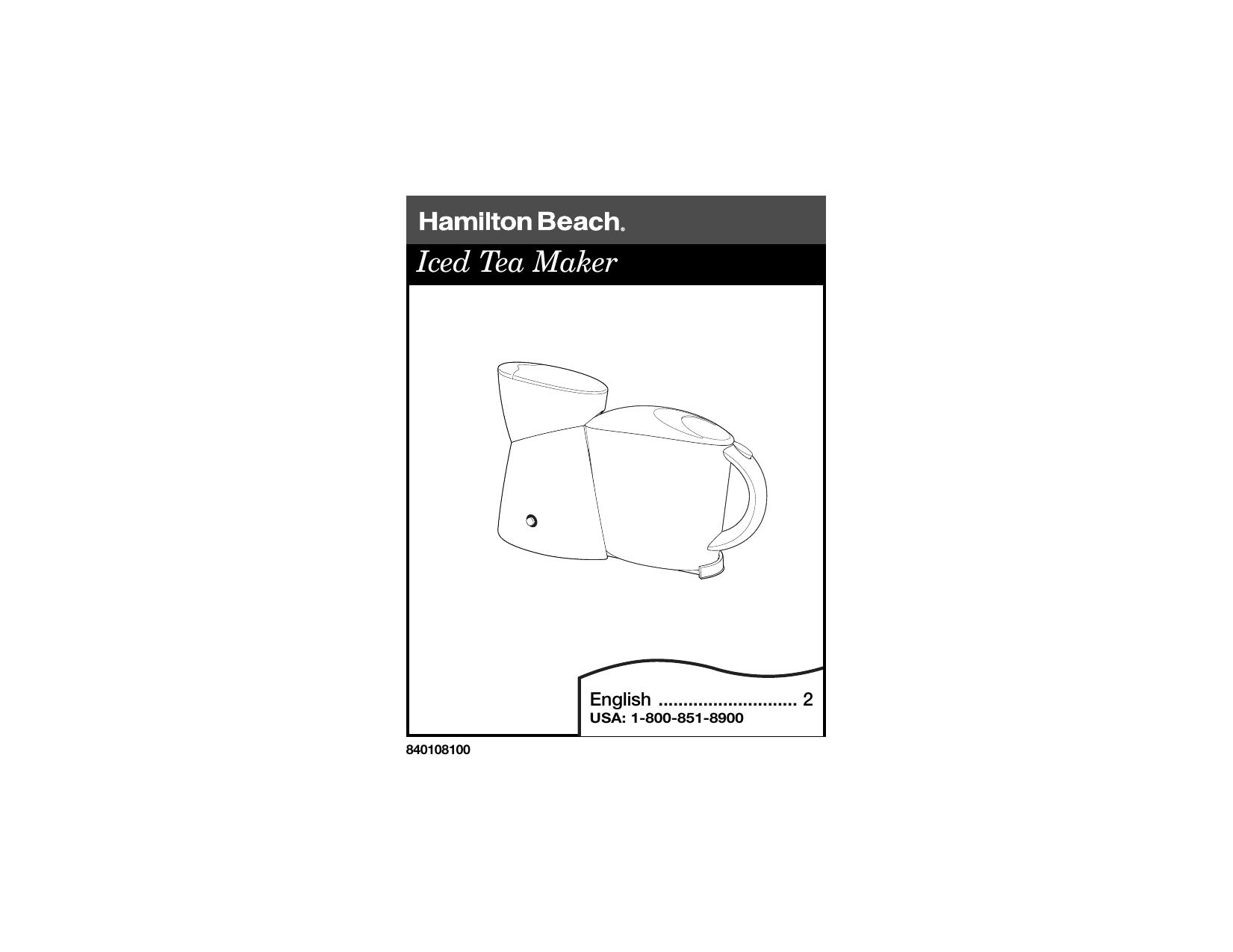 Hamilton Beach Ice Tea Maker Iced Tea Maker User manual