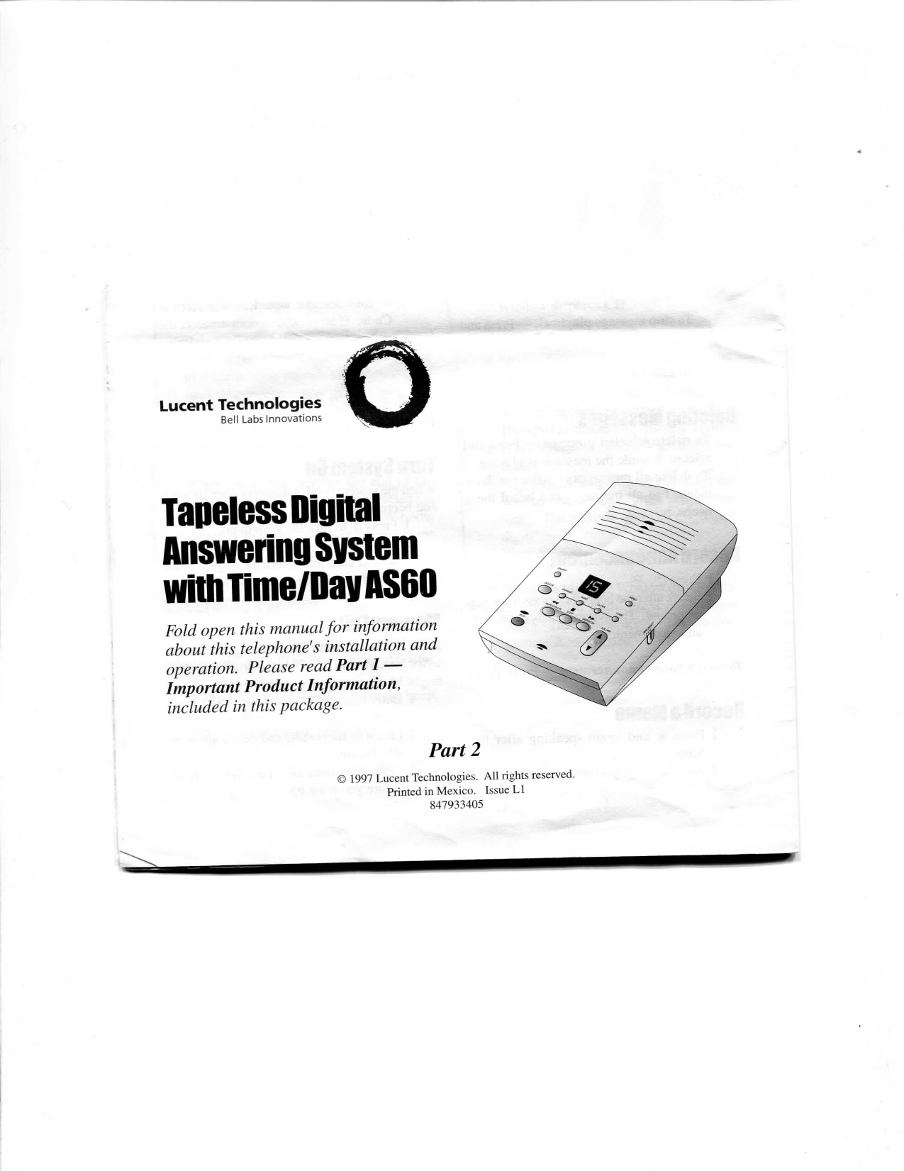 Lucent Technologies Answering Machine AS60 User manual
