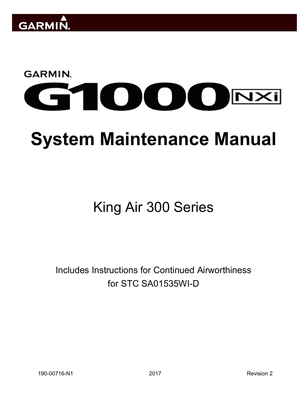 Garmin G1000 NXi: Beechcraft King Air 300/B300 User manual