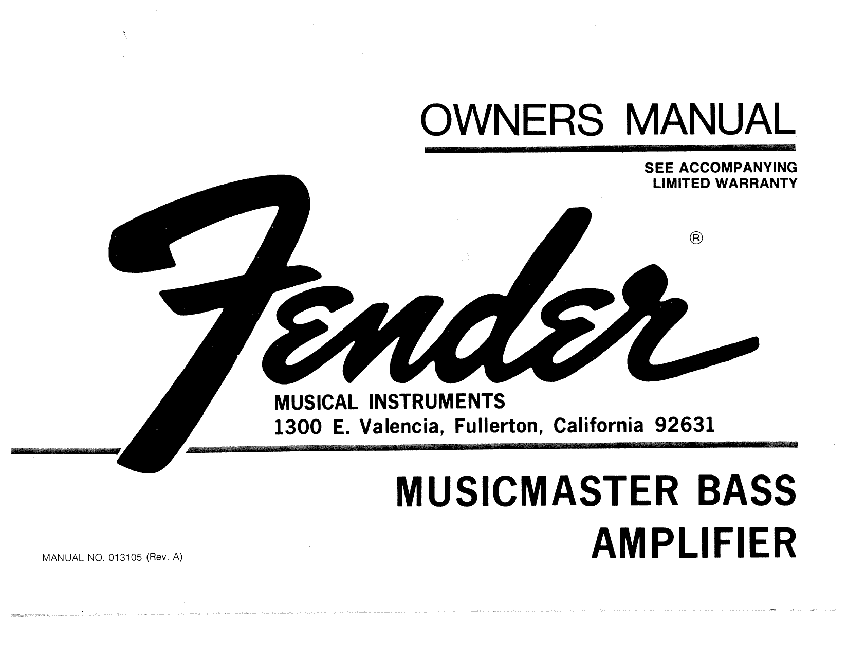 Fender Musicmaster Bass Amplifier (1977) Owner's manual