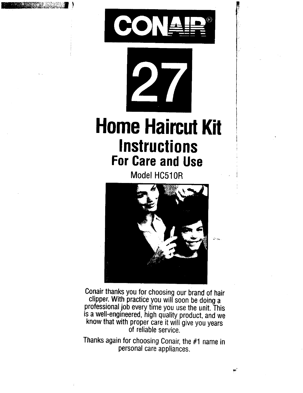 Conair HC510R 27-Piece Home Haircut Kit Instruction manual