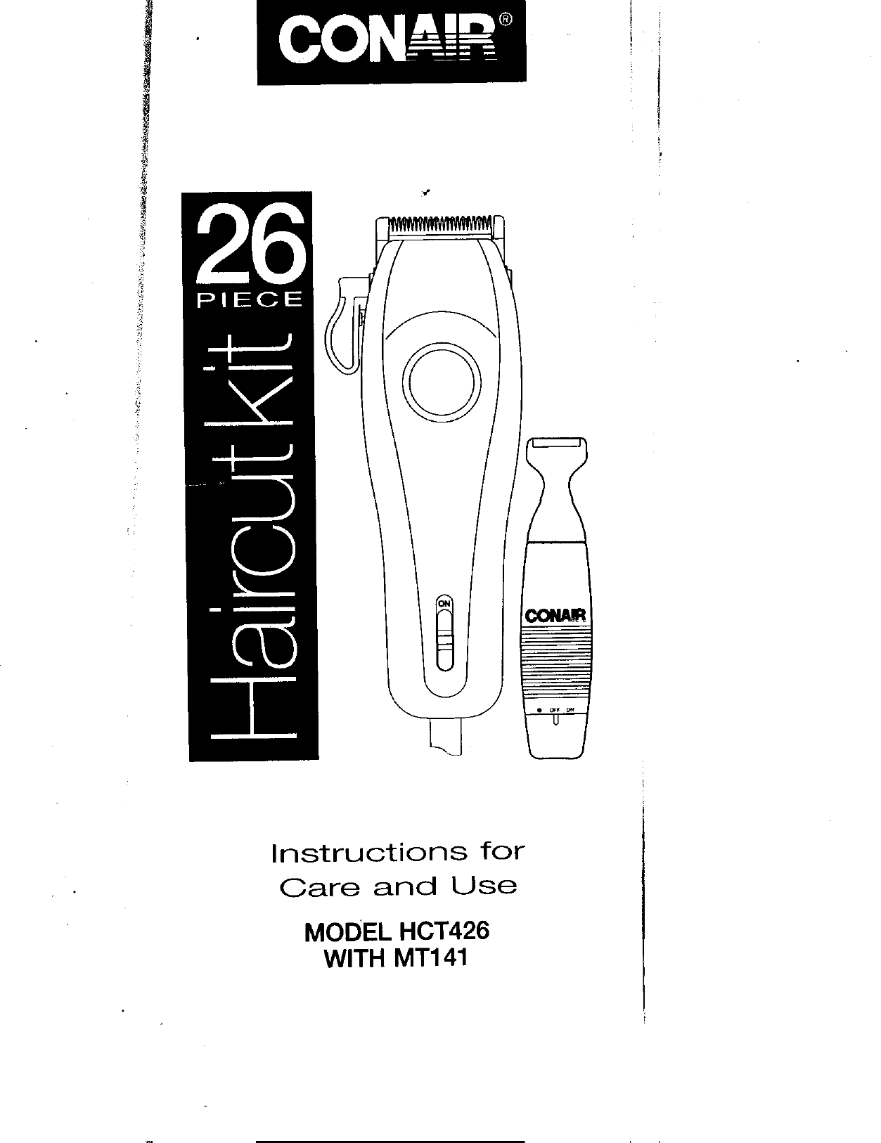 Conair HCT426 26-Piece Haircut Kit Instruction manual