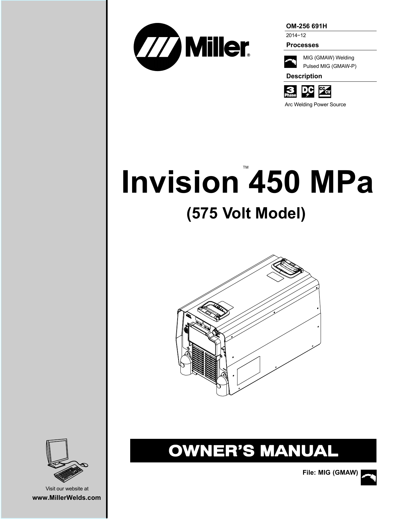 Miller INVISION 450 MPA (575 VOLT MODEL) User manual