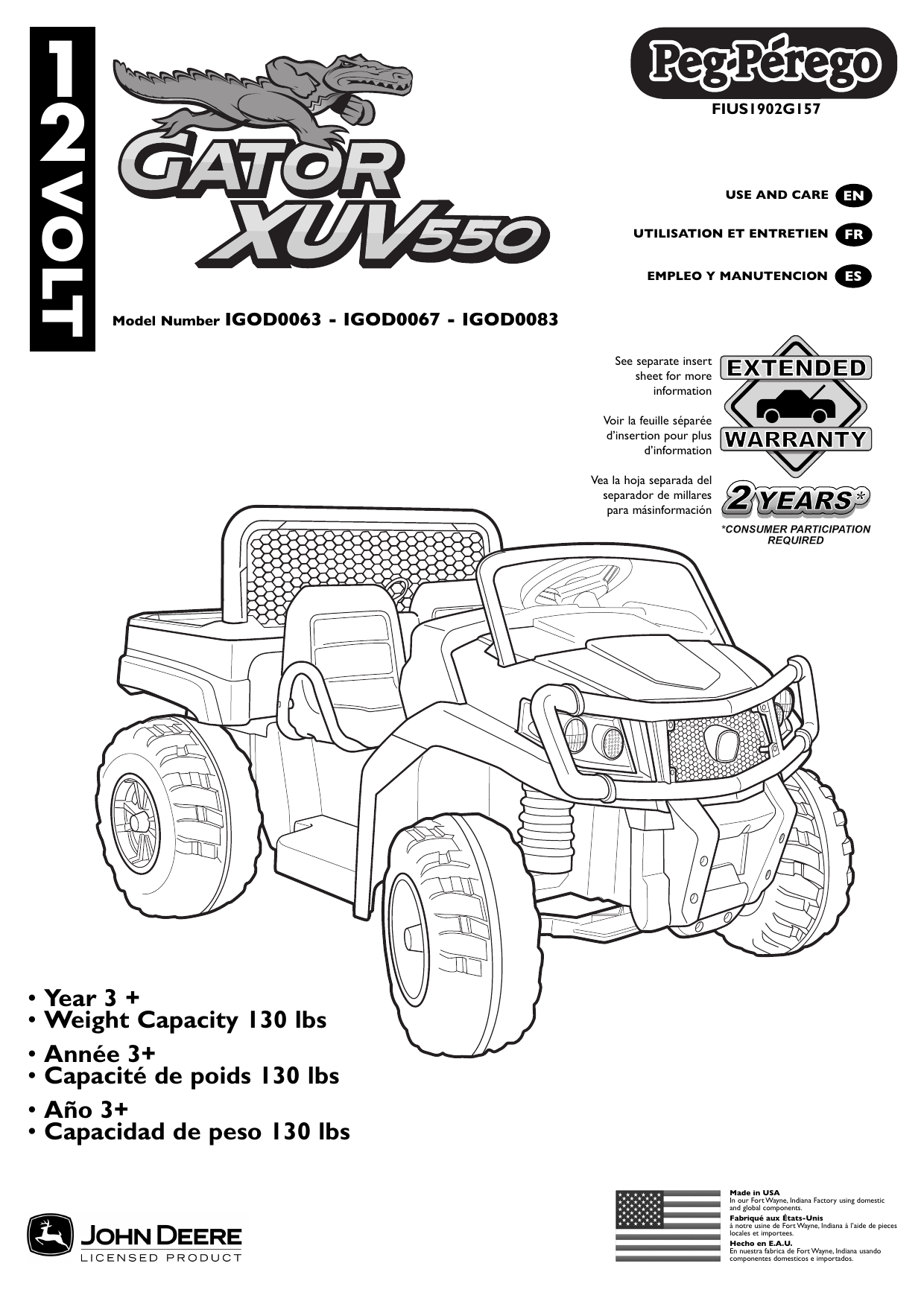 Peg Perego John Deere Gator XUV550 Use and Care Manual